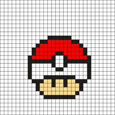 Pokeball Mushroom by Tashar_h on Kandi Patterns Melty Bead Patterns, Kandi Patterns, Hama Beads Patterns, Beading Patterns, Easy Pixel Art, Pixel Art Grid, Perler Bead Mario, Pokemon Perler Beads, Pixel Art Templates