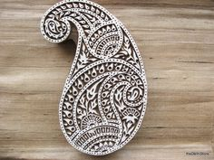 Large Paisley Stamp / Wooden Printing Block Decorative Stamp For Textiles / Pottery / Walls etc..