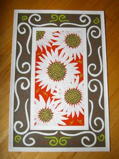 Sunflowers on Cayenne Floorcloth Rug by alysoncstudio on Etsy, $210.00
