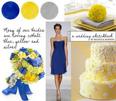 Cobalt Blue, Yellow and Silver Gray Wedding Colors
