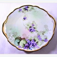 Purple #Violet Cake #Plate Hand Painted #Signed Gold Gilt #vintage