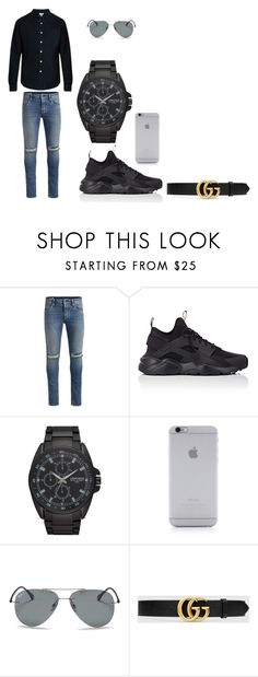 """M"" by iamnala on Polyvore featuring Jack & Jones, NIKE, Armitron, Native Union, Ray-Ban, Gucci, Simon Miller, men's fashion and menswear"