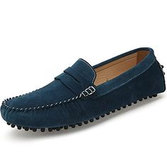 awesome SUNROLAN Men's Dress Shoes Suede Slip on Flats Dress Loafer Slim Mocassin Leather Boat Driving Shoes 2019