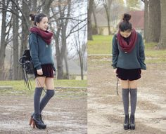 Over sized sweater, wrap around scarf, knee high socks, messy bun, burgundy shorts i think and those shoes <3