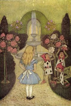 'Alice thought this a very curious thing.'Illustration by Elenore Plaisted Abbott (1875 – 1935) taken from  'Alice's Adventures in Wonderland and Through the Looking Glass' by  Lewis Carroll. Edition published 1916 by George W. Jacobs and Co.archive.org