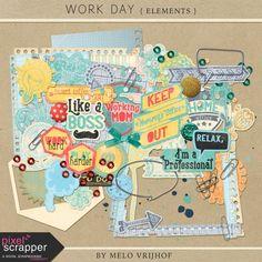 Pixel Scrapper - Work Day - Elements Kit - Digital Scrapbooking