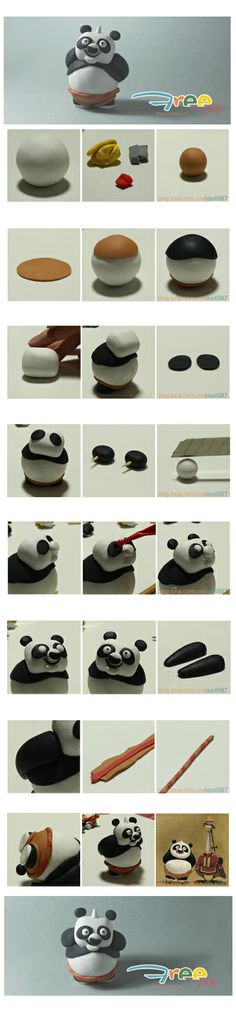 Kung Fu Panda in clay Polymer Clay Figures, Fimo Clay, Polymer Clay Projects, Polymer Clay Charms, Polymer Clay Jewelry, Clay Crafts, Fondant Figures Tutorial, Cake Topper Tutorial, Biscuit