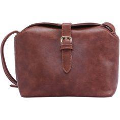 thelmagghatya: Brown Buckle PU Satchel Bag liked on...
