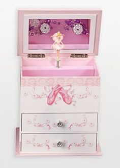 Musical Jewelry Box - Mele Angel Girl's Wooden Musical Ballerina Jewelry Box with Fashion Paper Overlay Music Box Ballerina, Ballerina Jewelry Box, Ballerina Room, Kids Jewelry Box, Musical Jewelry Box, Girls Jewelry, Ballerina Slippers, Kids Boxing, Jewelry Organization
