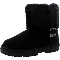 Womens Side Buckle Ankle Pull On Flat Winter Shoe Boots ** You can get additional details at the image link. (This is an affiliate link) #MidCalf
