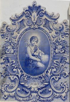 Photo of the interior designs with azulejo ceramic tiles. History of azulejo tiles. Variety of azulejo tiles application. Blue And White China, Love Blue, Holy Art, Images Vintage, Portuguese Tiles, John The Baptist, White Decor, Delft, Arabesque