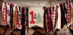 WOODLAND TREE Lumberjack Birthday Age High Chair Highchair Birthday Banner Photo Prop Christmas Fishing Hunting Plaid Red Green One First by RawEdgeSewingCo on Etsy https://www.etsy.com/listing/257342104/woodland-tree-lumberjack-birthday-age