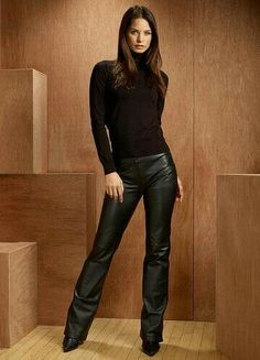 Classy black leather pants and sweater outfit
