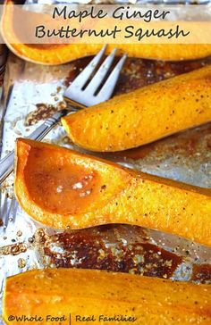 Maple Ginger Butternut Squash from Whole Food | Real Families is both sweet and savory. It is also my favorite recipe to serve Butternut Squash because there is no peeling and chopping involved!