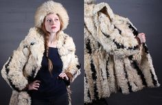 "Vintage Hippie REAL FUR Coat Curly Lamb MONGOLIAN Boho Shaggy ""Frylane Paris Qualite"" France Made Woman's Creamy White & Black Topper Jacket by HarlowGirls on Etsy"