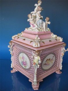 Huge Continental porcelain casket Dresden Meissen Style Cherubs Ornate Box Pot