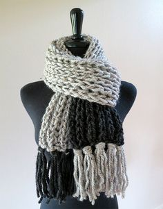 Gray Squares Handknitted Chunky Unisex Scarf with Tassels by Knitsome Studio