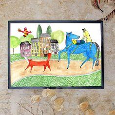 """Die """"Abenteuer Freunde"""" gibt es ab jetzt nicht nur in meinem Zimmer, sondern als Druck in meinem Shop :) Irinammur.dawanda.com  Ach..ich würde so gern auch sofort auf eine Abenteuerreise gehen! :)    #illustration #dawandashop #dawanda #dawanda_de #tiere #reise #abenteuer #travel #animalsdrawing #adventure #watercolourpainting #childrenillustration #print #instartist_ #instaart #drawing"""