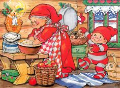 gnome with mama Swedish Christmas, Vintage Christmas, Christmas Fun, Clipart Noel, David The Gnome, Kobold, Elves And Fairies, Old Fashioned Christmas, Fashion Painting