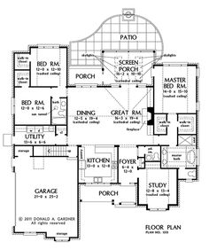 First Floor Plan of The St. Regis - House Plan Number 1313 2,344 sq. ft.