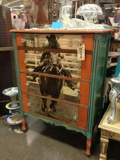 Probably the coolest thing I've seem in a while. *Barrel racing barrel racer horse dresser home decor*