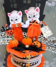 Vintage Inspired SuGaR SwEeT Trick or Treat Kitty by saturdayfinds