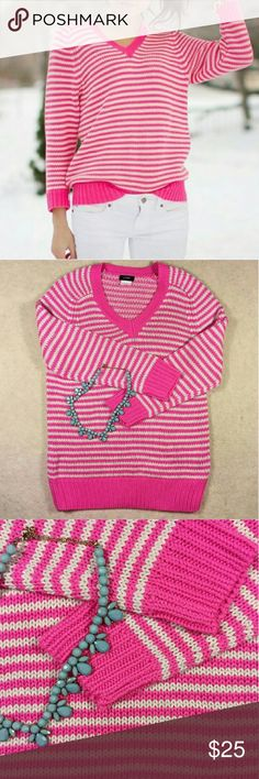 J Crew Pink and White Sweater Excellent condition, neon pink with white stripes, 3/4 inch sleeves, no flaws, bright and colorful for Spring! J. Crew Tops