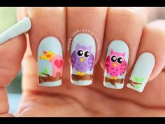 Decoración de uñas Emoji o emoticones | DEKO UÑAS | Moda en tus uñas Owl Nail Art, Owl Nails, Animal Nail Art, Hair Skin Nails, Nail Manicure, Pretty Nails, Design Art, Nail Designs, Beauty