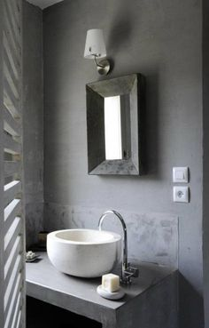 1000 images about beautiful powder rooms on pinterest - Salle de bain sol gris mur blanc ...
