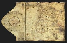 "The ""Columbus map"", drawn ca. 1490, in the workshop of Bartolomeo and Christopher Columbus in Lisbon."