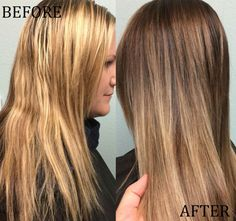 Helen Erickson (Instagram's @HairXHelen), colorist at Sola Salons gives us the formula for this color correction: brassy blonde to sombre brunette.