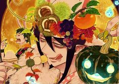 Mephisto, Amaimon, brothers, dango, cool, pumpkin, bunny, ears, rabbit, fruit, food; Blue Exorcist