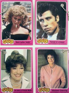 I had a whole scrapbook of these Grease trading cards and stickers.