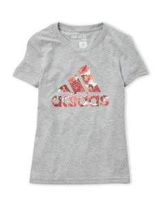 Adidas (Girls 7-16) Rose Logo V-Neck Tee