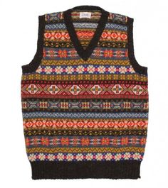 Sleeveless Shetland Wool Fairisle V Neck Pullover - Knitwear - Online Shop - Drakes London Knitting Designs, Knitting Patterns, Drake London, Wool Sweaters, Sweater Vests, Tweed Run, Luxury Ties, Shetland Wool, Gents Fashion