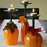Fall Table Centerpiece Pumpkin Wine Glasses- Thanksgiving Wine Glasses- Candle holder- Set of Hand Painted Wine Glasses fall crafts diy thanksgiving - Diy Fall Crafts Pumpkin Wine, Wine Glass Candle Holder, Candle Stand, Glass Holders, Glass Votive, Glass Table, Fall Table Centerpieces, Wine Glass Centerpieces, Centrepiece Ideas