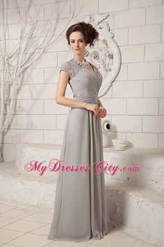 mother of the groom dresses 2015 | ... Lace V-neck Cap Sleeves Floor-length Chiffon Mother Dress for Wedding