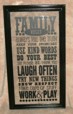 family rules vinyl on a floating frame