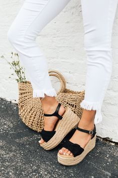 The Giselle Bow Wedge in Black Brown Wedges Outfit, Wedge Sandals Outfit, Espadrilles Outfit, Black Espadrilles, Cute Sandals, Cute Shoes, Wedge Shoes, Me Too Shoes, Shoes Sneakers