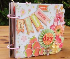 Handmade Mini Album with a girly theme - Two Peas in a Bucket / like the cheerfulness