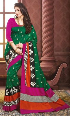 #Magenta and #Green #Bhagalpuri #Printed #Saree, #Printed #Bhagalpuri #Silk #Sarees Collection, http://www.ishimaya.com/sarees/all-collections.html – Ishimaya