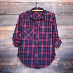 paper hearts plaid flannel shirt - magenta – shop hearts