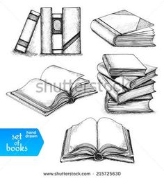 Opened and closed books, books on the shelf, stacked books and single book isolated on white background. Opened and closed books, books on the shelf, stacked books and single book isolated on white background. Open Book Drawing, Drawing Sketches, Art Drawings, Pencil Drawings, Sketching, Stack Of Books, Drawing Reference, Art Lessons, Book Art