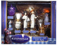 """Ratatouille Character Cast Gift Pack by Mattel. $14.70. The set features 7 figures from Ratatouille: Gusteau, Remi, Skinner, Colette, Linguini, Emile and Django.. This set is from Disney Pixar movie Ratatouille. These figures will be fun to play with and can also make the perfect gift idea for Christmas.. Disney Ratatouille Character Gift Set - Set of 7. All figures are well detailed and about 2""""- 4""""inches tall.. The set features 7 figures from Ratatouille: Gusteau, Remi, Skinn..."""