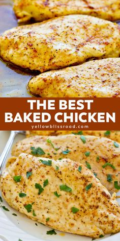 Learn how to make the most flavorful, tender and juicy easy baked chicken breast. , Learn how to make the most flavorful, tender and juicy easy baked chicken breasts - no more dry chicken! Five minutes prep and just 20 minutes in the . Juicy Baked Chicken, Baked Chicken Breast, Chicken Breasts, Chicken Thighs, Baked Chicken Tenders Healthy, Bake Chicken In Oven, Baked Chicken Tenderloins, Crispy Chicken, Chicken Bacon