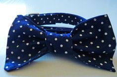 Navy Blue and White PolkaDot Collar & Bow  Made by katiesk9kollars, $20.00