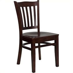 HERCULES Series Mahogany Finished Vertical Slat Back Wooden Restaurant Chair -- Click image to review more details.Note:It is affiliate link to Amazon. #30likes