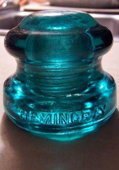 Hemingray CD 137 antique, dark aqua glass, hockey puck, glass insulator.