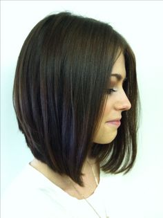Long angled stacked bob. Love my haircut :)