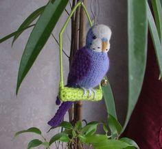 Budgie , knitted bird.